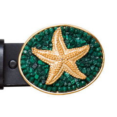 Gold Charm Malachite Starfish Buckle