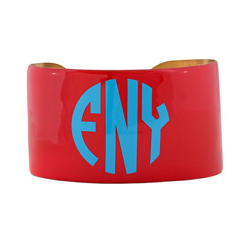 Monogrammed Enamel Cuff Bracelet - Coral with Light Blue Monogram