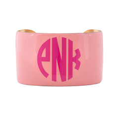Monogrammed Enamel Cuff Bracelet - Light Pink with Hot Pink Monogram