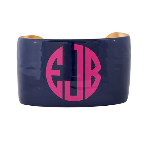 Monogrammed Enamel Cuff Bracelet - Navy with Hot Pink Monogram