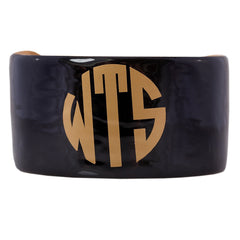 Monogrammed Enamel Cuff Bracelet - Black with Gold Monogram
