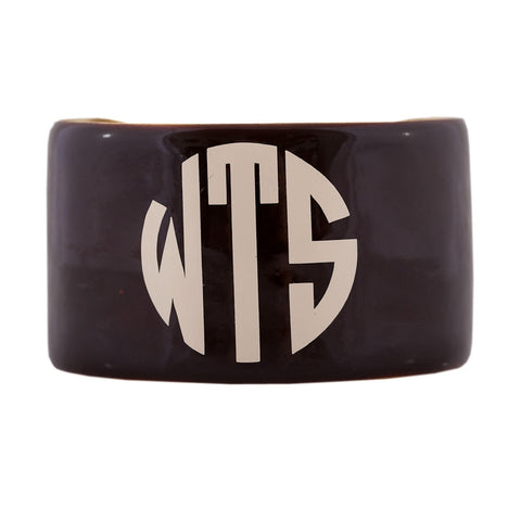 Monogrammed Enamel Cuff Bracelet - Chocolate with Cream Monogram