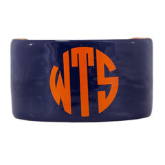 Monogrammed Enamel Cuff Bracelet - Navy with Orange Monogram