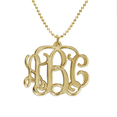 "Monogrammed  Script Necklace - 1"" 18K Gold Plated"