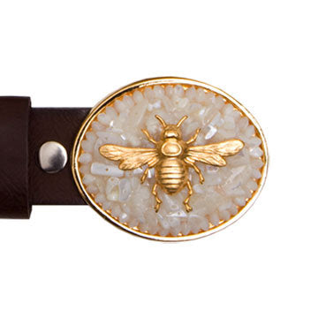 Gold Charm Bee Mother of Pearl Buckle