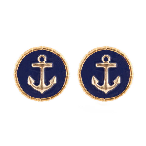 Enamel Button Charm Earrings - Anchor