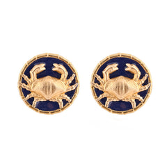 Enamel Button Charm Earrings - Crab