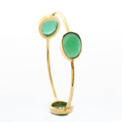 Pasha 3 Stone Bangle - Emerald Onyx