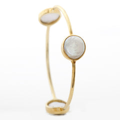 Pasha 3 Stone Bangle - Coin Pearl