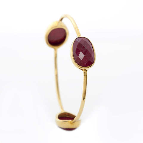 Pasha 3 Stone Bangle - Ruby