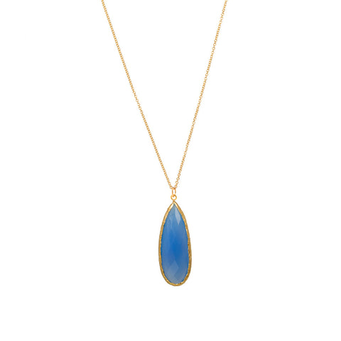 Pasha Long Teardop Necklace - Blue Chalcedony