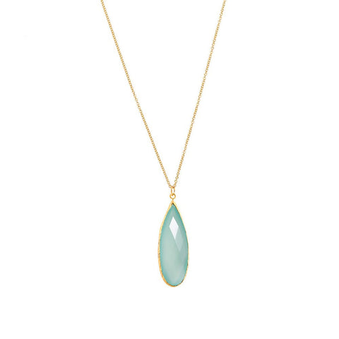 Pasha Long Teardop Necklace - Seafoam