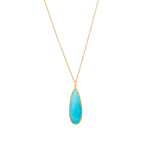 Pasha Long Teardop Necklace - Turquoise