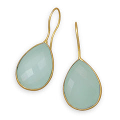 Pasha Solid Wire Teardrop Earrings - Mint Chalcedony