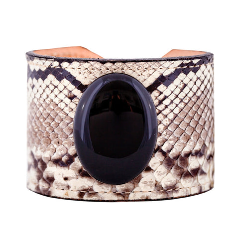 Exotic Skin Cuff Bracelet - Black & White Python with Black Onyx