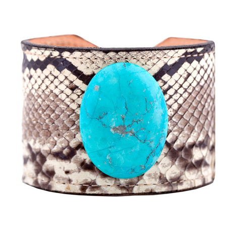 Exotic Skin Cuff Bracelet - Black & White Python with Turquoise