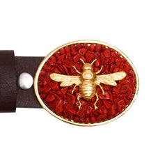 Gold Charm Bee Red Coral Buckle