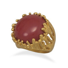 Red Coral Gold Plated Jellyfish Ring