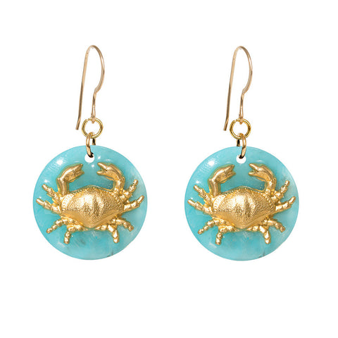 Tortoise Turquoise Dangle Enamel Charm Earrings - Crab