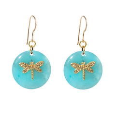 Tortoise Turquoise Dangle Enamel Charm Earrings - Dragonfly