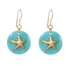 Tortoise Turquoise Dangle Enamel Charm Earrings - Starfish