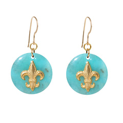 Tortoise Turquoise Dangle Enamel Charm Earrings - Fleur de Lis