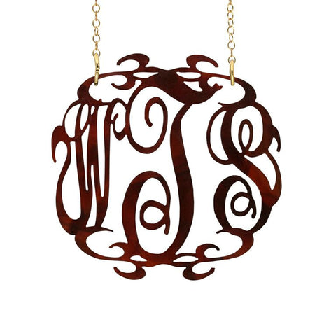 Monogrammed Acrylic Scroll Necklace