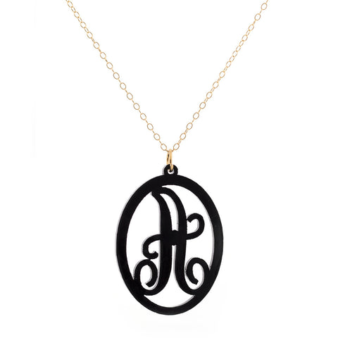 Charm Oval Acrylic Initial Necklace  - Large Black