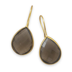 Pasha Solid Wire Teardrop Earrings - Smoky Quartz