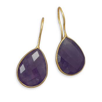 Pasha Solid Wire Teardrop Earrings - Amethyst