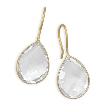 Pasha Solid Wire Teardrop Earrings - Clear Quartz