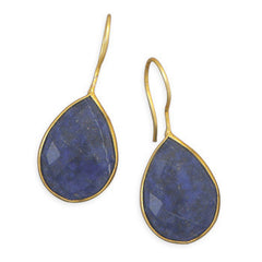Pasha Solid Wire Teardrop Earrings - Lapis