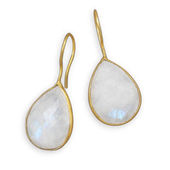 Pasha Solid Wire Teardrop Earrings - Rainbow Moonstone