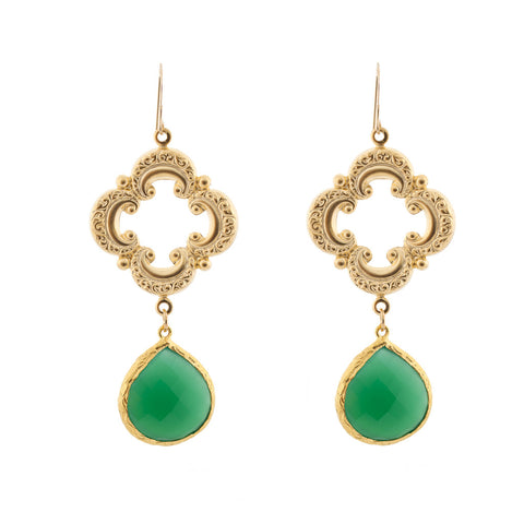 Sophia Earrings - Emerald Onyx