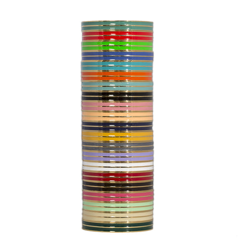 Striped Enamel Bangle Bracelet