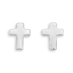 Stud Sterling Silver Cross Earrings