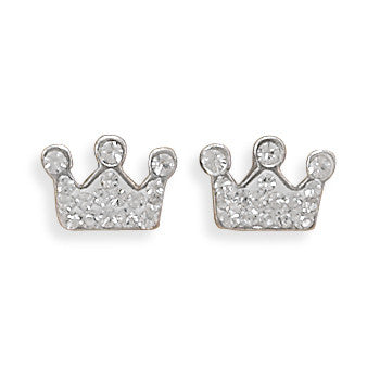 Stud Sterling Crystal Crown Earrings