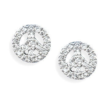 Stud Sterling CZ Peace Earrings