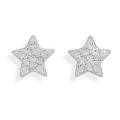 Stud Sterling Crystal Star Earrings
