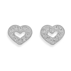 Stud Sterling Crystal Heart Earrings