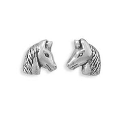 Stud Silver Horse Earrings