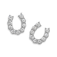 Stud Sterling CZ Horseshoe Earrings