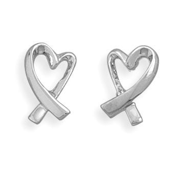 Stud Silver Ribbon Heart  Earrings