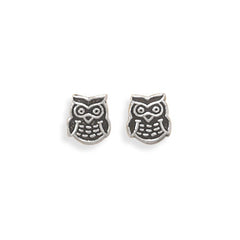 Stud Silver Owl  Earrings