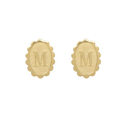 Stud Scallop Initial Earrings