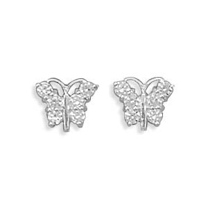 Stud Sterling CZ Butterfly Earrings