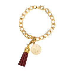 Classic Small Charm Bracelet - With Initial and Tassel - Maroon