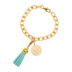 Classic Small Charm Bracelet - With Initial and Tassel - Aqua