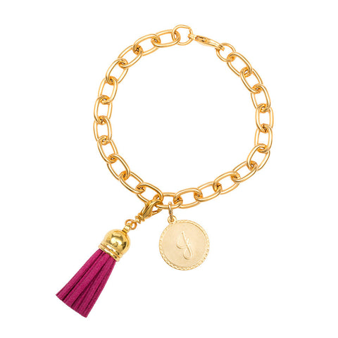 Classic Small Charm Bracelet - With Initial and Tassel - Fuschia