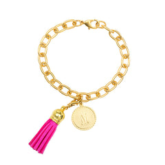 Classic Small Charm Bracelet - With Initial and Tassel - Hot Pink